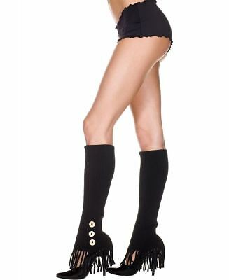 Leg Warmers With Side Buttons And Fringe - Music Legs - Fringe Leg Warmers