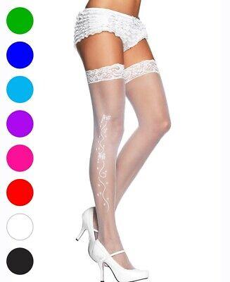 New Leg Avenue 9019 Wedding Bell Sheer Lace Top Thigh High (Bells Sheer Thigh High Stockings)