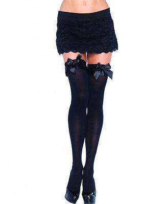 Leg Avenue 6010 Opaque Thigh High Nylon Stocking With Satin Ruffle Trim And Bow - Opaque Nylon Thigh High Stockings
