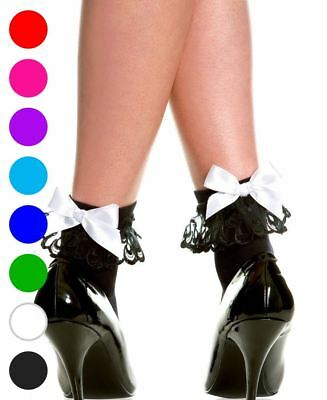 Opaque Ankle High Socks With Lace And Bow - Music Legs 546
