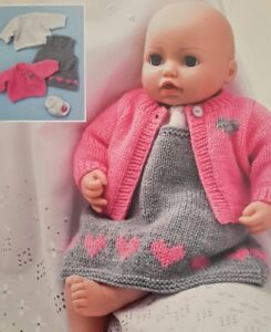Knitting Pattern BABY DOLLS PINAFOREDRESS CARDIGAN TOP PANTS Clothes 18