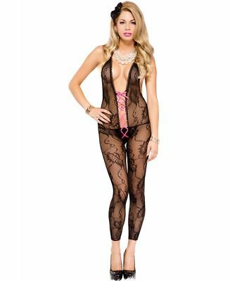 Footless Lace Halter Deep V Bodystocking - Music Legs 1894 - Lace Footless Bodystocking