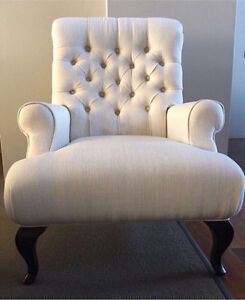 BRAND NEW BUTTONED BACK BEIGE LINEN ROLLED TOP ARMCHAIR Casuarina Kwinana Area Preview