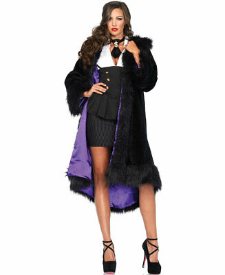 Satin Lined Faux Fur Coat With Tail Shawl Collar - Leg Avenue 85480](Costumes With Fur Coat)