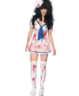 Women's Zombie Decaying Sailor Debbie Dress Outfit Adult Halloween Costume New - Sailor Outfit Halloween