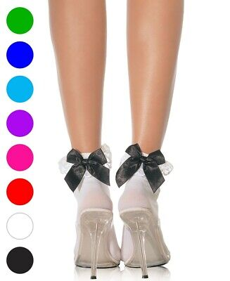 Nylon Anklets Socks With Ruffle And Satin Bow - Leg Avenue 3029