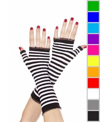 Hot Pink Gloves (New Music Legs 431 Black Hot Pink Striped Fingerless)