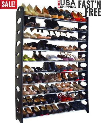 50 Pair 10 Tier Stainless Steel Shoe Tower Rack Organizer Space Saving Shoe Rack