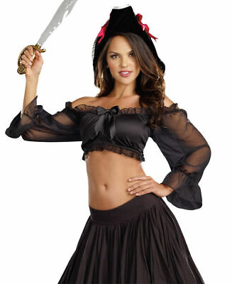 Sexy Crop Top for Pirate Themed Costumes New by Dreamgirl Black Size S/M ()