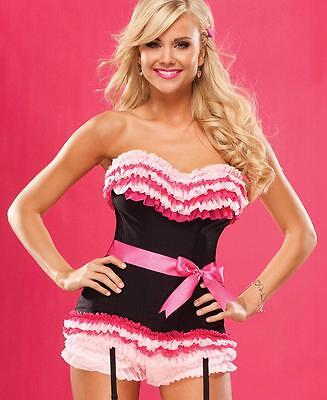 Black And Pink Ruffled Corset - Coquette 3383](Coquette Corsets)