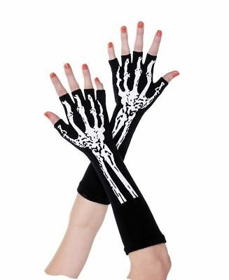 New Music Legs 453 Skeleton Print Fingerless Gloves
