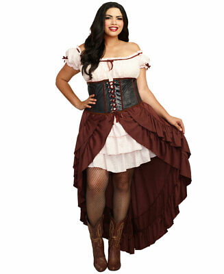Plus Size Saloon Girl Authentic Wild West Costume - Dreamgirl 11134X - Plus Size Wild West Costumes