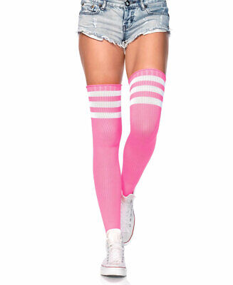 Neon Pink Athletic Ribbed Thigh High Stockings - Leg Avenue 6605 - Neon Pink Stockings