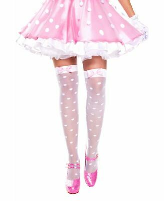 Sheer Polka Dot With Satin Bow Thigh High Stockings - Music Legs 4659