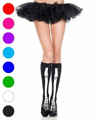 Skeleton Print Knee High Socks - Music Legs 5305 (Skeleton Knee High Socks)
