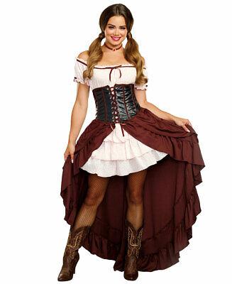 Dreamgirl Saloon Gal Costume Women's Wild West Western Fancy Dress SM-XL - Saloon Gal Costume