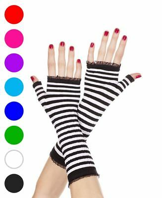 Hot Pink Gloves (Black Hot Pink Striped Fingerless Gloves - Music Legs)