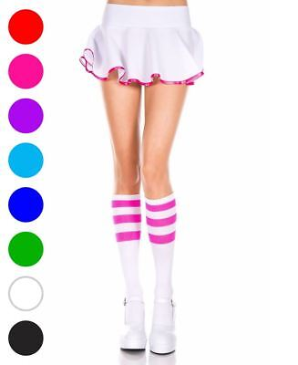 Knee High Socks With Striped Top - Music Legs 5726