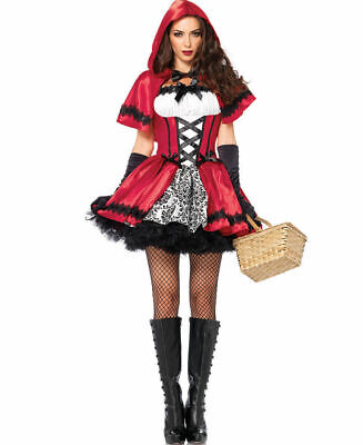 Red Riding Hood Capes (Women's Gothic Dark Red Riding Hood Halloween Costume Dress Cape Damask)