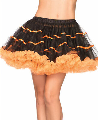 Black And Orange Layered Satin Striped Tulle Petticoat Skirt - Leg Avenue A1711B](Orange And Black Striped Leggings)