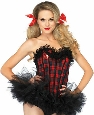 Leg Avenue Easy A School Girl Corset Red Plaid 2637 Size Small School Girl Leg