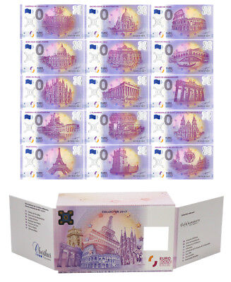 Zero - 0 Euro 15 PCS Full Set, 2017, UNC,Polymer Banknote w/ Matching Serial Set