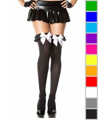 New Music Legs 4722 Thigh High Stockings With Satin Ruffle And Bow