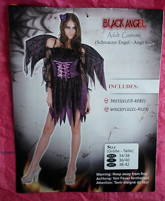 Schwarzer-Engel Kostüm mit Flügel, Heiligenschein und Perücke Größe 34-38 ()