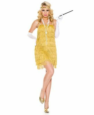 Gold Lustrous Flapper Costume - Music Legs 70841