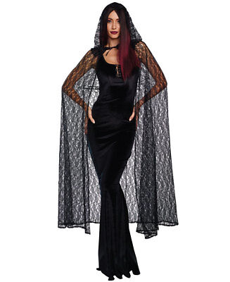 Dreamgirl Black Lace Hooded Gothic Cape Adult Womens Halloween Costume - Black Hooded Cape Costume