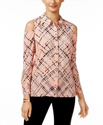 ALFANI $80 NEW 20856 Printed Cold-Shoulder Blouse Womens Top 8