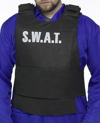 Mens SWAT TEAM Vest Police Costume Adult Officer Fake Bulletproof Bullet Proof