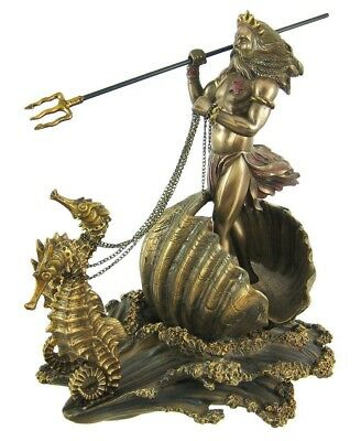 Greek God of the Sea Poseidon Trident on Sea Horse Chariot Statue 10