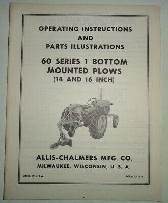 Allis Chalmers 60 Series 1-bottom Plow Operators Parts Manual Original 1416