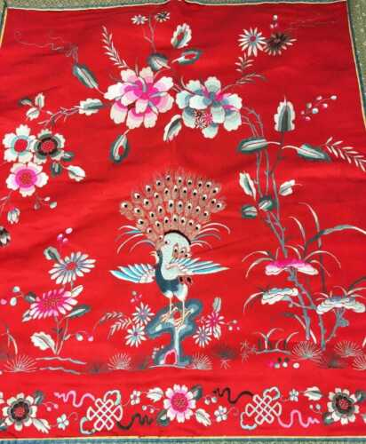 Vintage Chinese Red Peacock Embroidery Panel