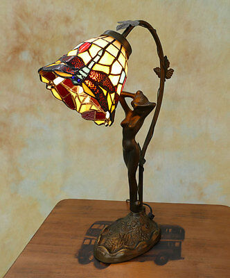 Tiffany Tischlampe Frauenfigur Figur Dragonfly Libelle Tiffanylampe Lampe TE13-a