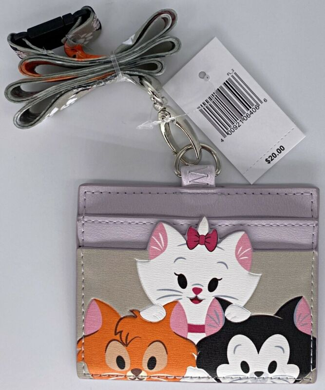Disney Parks Reigning Cats Loungefly ID Card Holder Lanyard Marie Oliver Figaro