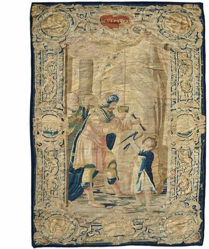 """A Must see Antique 17th Century  """"SCVLPTVRA"""" Pictorial Brussel  Tapestry"""