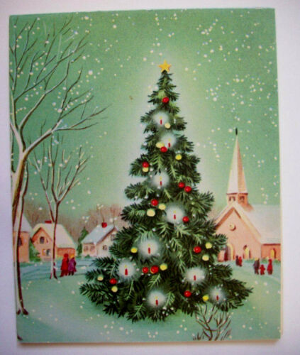 Town square decorated tree Christmas greeting card *6A
