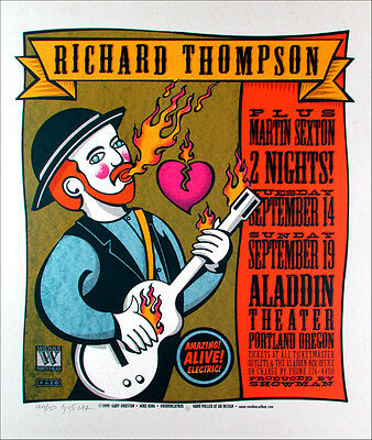 Richard Thompson, Martin Sexton Signed Silkscreen Poster by Gary Houston