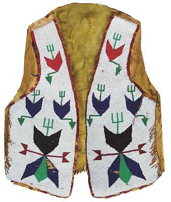 RARE 1800s VERY OLD NATIVE AMERICAN INDIAN SIOUX BEADED LEATHER VEST