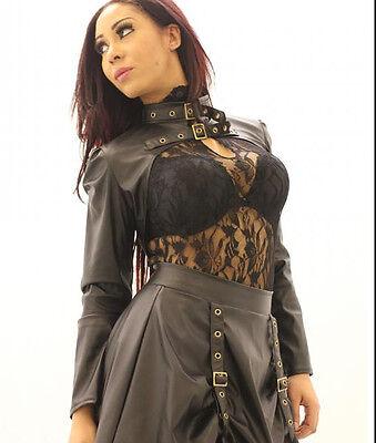 Steampunk Braun Kunstleder Bolero von Phase Kleidung Gotik, Punk, Fetisch ()
