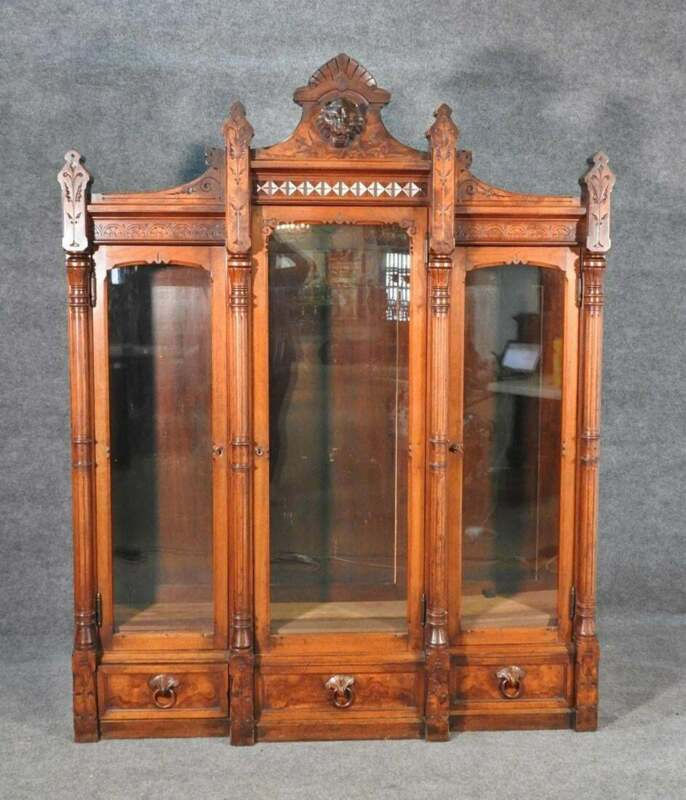 Daniel Pabst Walnut Renaissance Revival Victorian Three-Door Bookcase circa 1870