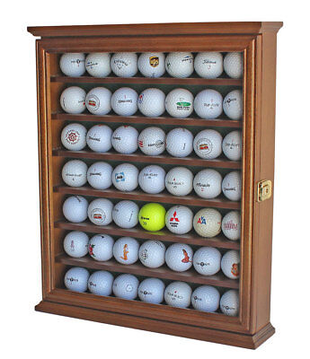 49 Golf Ball Display Case Rack Cabinet with Glass Door, LOCKABLE, GB49L-WALN