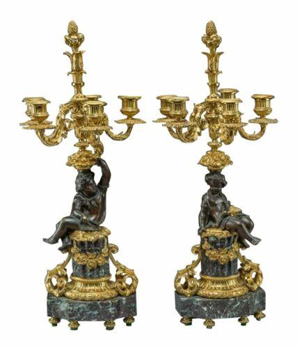 Candelabra, Gilt & Patinated Bronze, Napoleon III, 1800s, Gorgeous Pair Antique