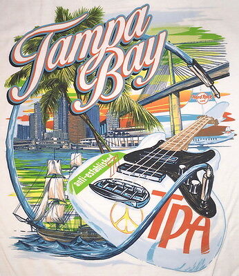 Hard Rock Cafe TAMPA BAY AIRPORT TPA City Tee T-SHIRT XL Mens White New w/ Tags!