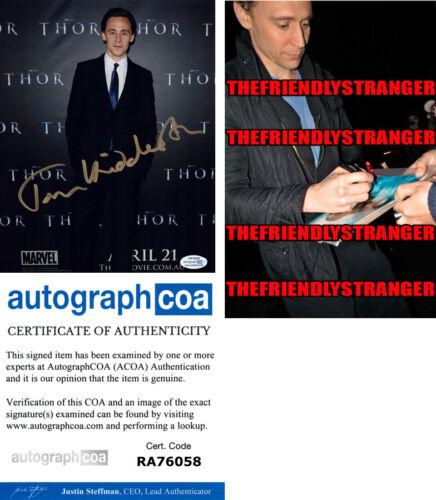 TOM HIDDLESTON signed Autographed 8X10 PHOTO a PROOF - LOKI Full Signature ACOA