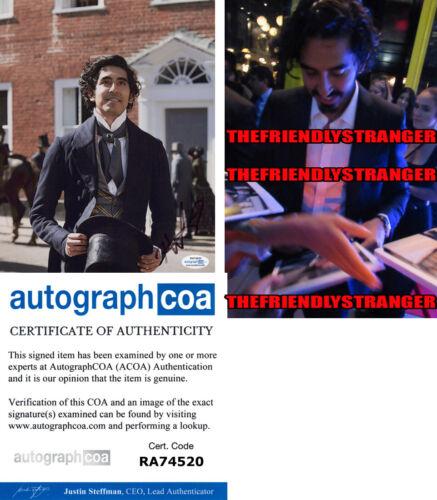 "DEV PATEL signed ""PERSONAL HISTORY DAVID COPPERFIELD"" 8X10 PHOTO Proof ACOA COA"
