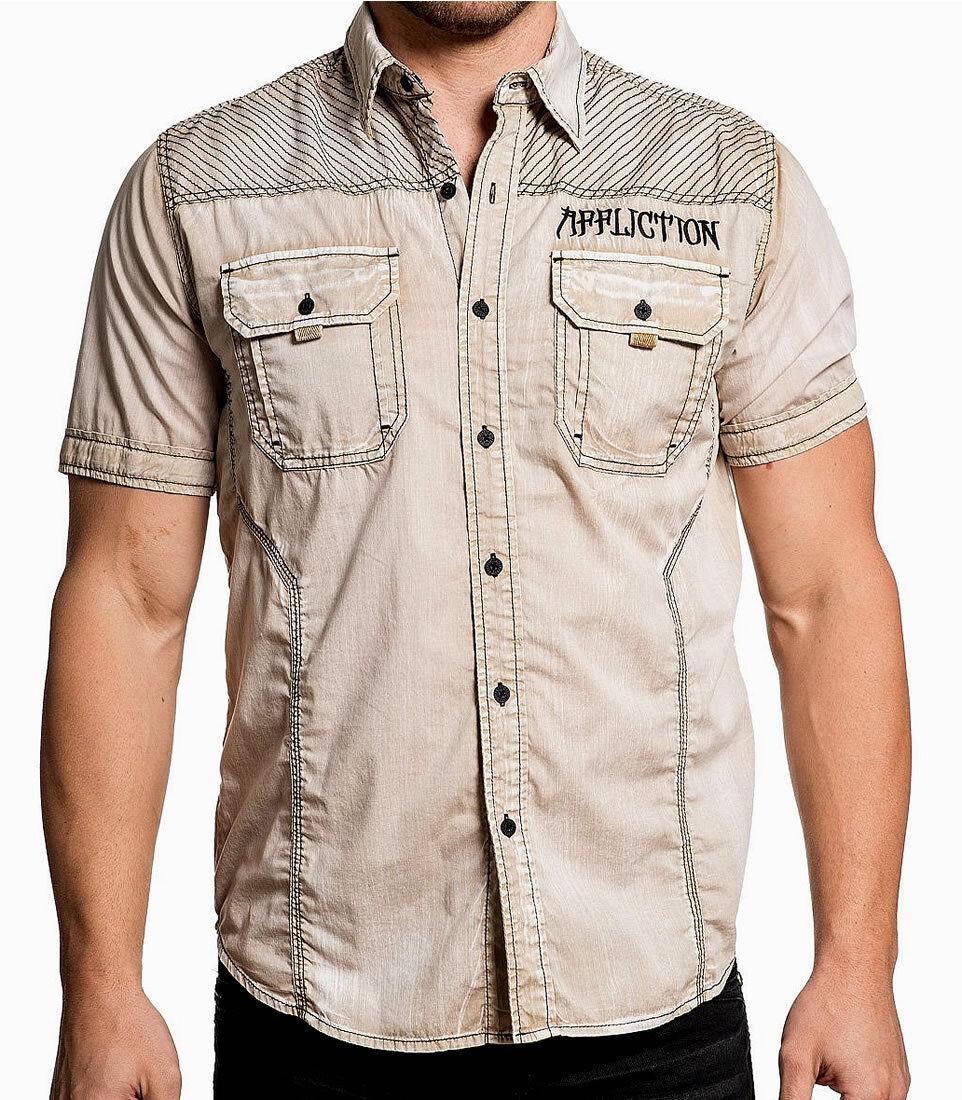 Affliction RUXTON Sand Men/'s Short Sleeve Button Down Dress Shirt NEW