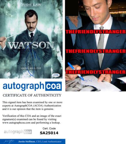 "JUDE LAW signed Autographed ""SHERLOCK HOLMES"" WATSON 8X10 PHOTO - PROOF ACOA COA"